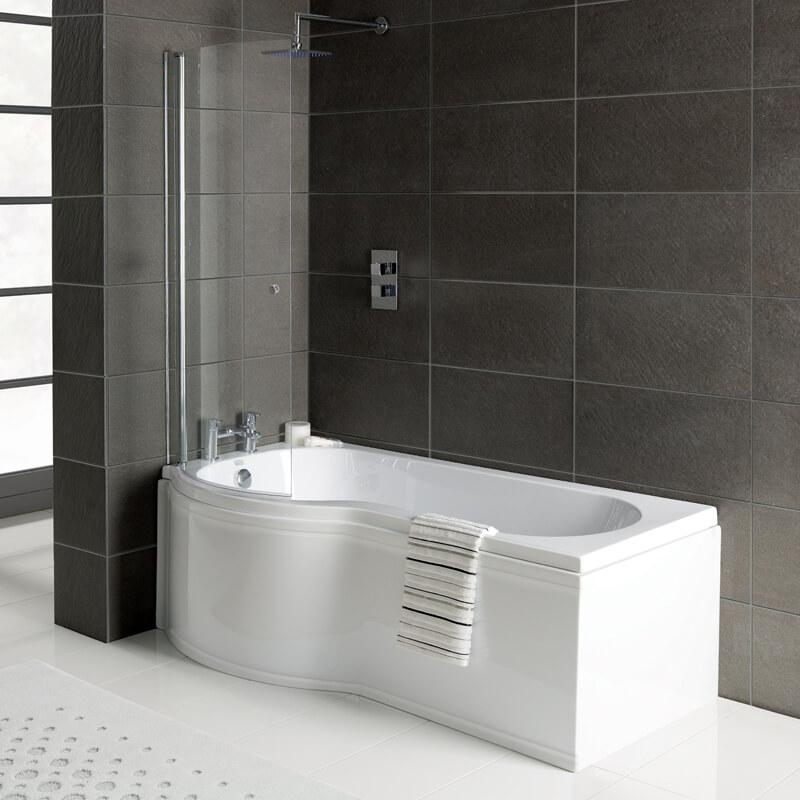 Modern Space Saver Small Bath 1500 Corner Single Ended P Shape UK Made