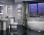 Arc Modern Freestanding Bathroom Suite - Includes Freestanding Bath, WC, Washbasin, Tap and Pedestal