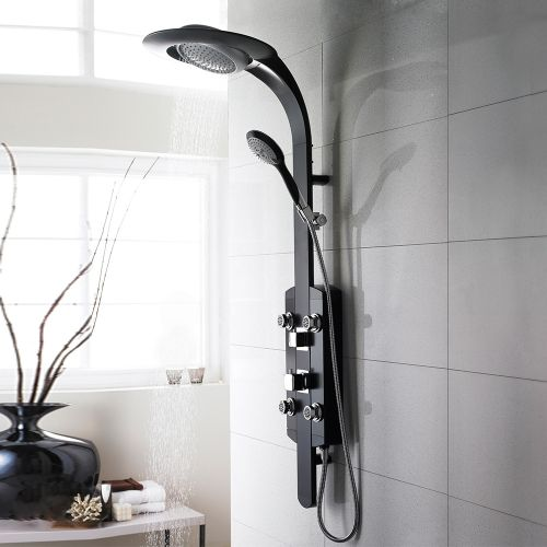 Hudson Reed Prophecy Black and Chrome Thermostatic Dream Shower Panel A3321