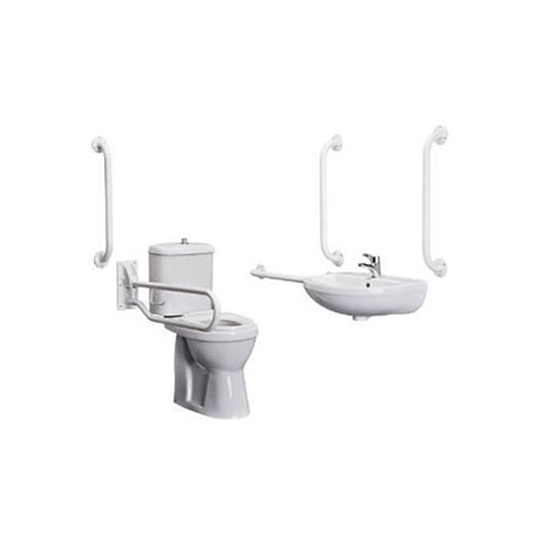 Doc M Pack Full Assisted Disabled Toilet, Basin and Rails