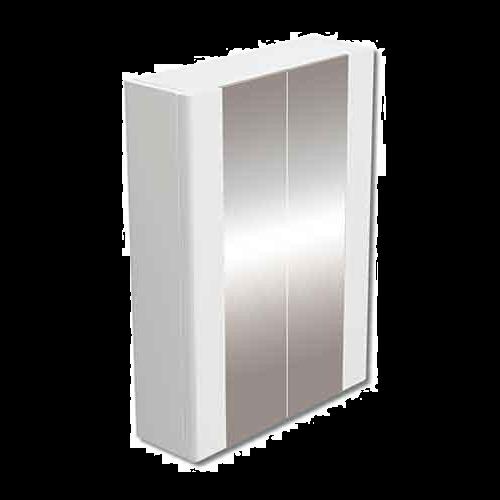 Duplex 600mm Mirror Double Door White Cabinet