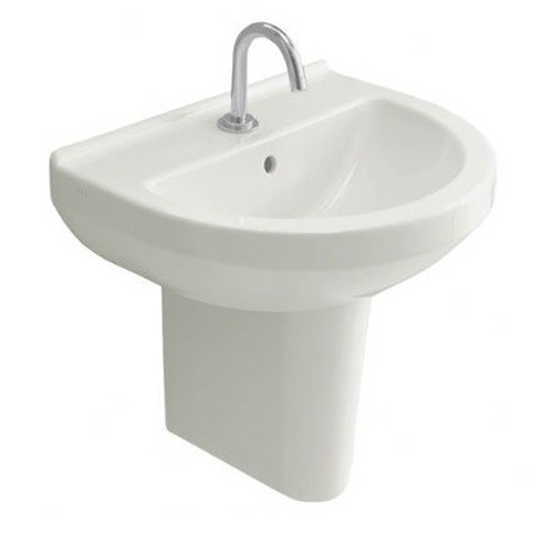 VitrA S50 Round Basin Options with Large Half Pedestal