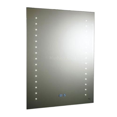 Hudson Reed Panorama LED Motion Sensor Backlit Mirror with shaving socket, digital clock and de-mister pad H800 x W600 x D50mm LQ044