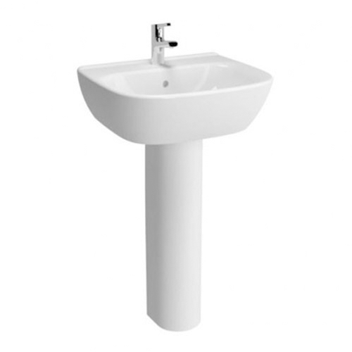 VitrA Zentrum 650mm 1 Tap Hole Washbasin With Full Pedestal