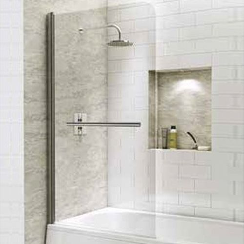 1400mm Straight Bath Screen with Curved Corner & Towel Rail - Kaso 6 by Voda Design (6mm Thick)