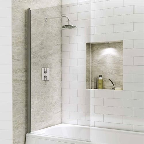 1400mm Straight Bath Screen with Square Corner - Kaso 6 by Voda Design (6mm Thick)
