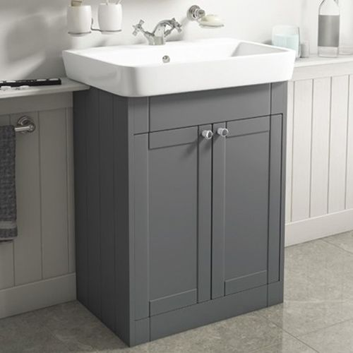 Traditional Floor Mounted Vanity Unit Various Sizes - Grey