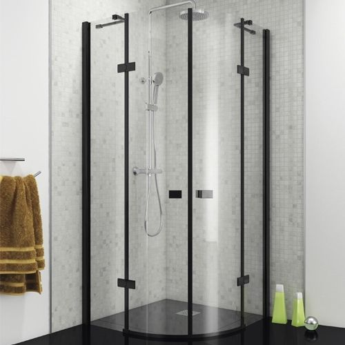 Black Frameless Quadrant Hinged Enclosure - Kaso 8 Star by Voda Design (8mm Thick)