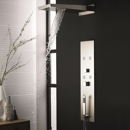 Hudson Reed Interval Fully Recessed Thermostatic Shower Panel and Rectangular Fixed Head PIN001