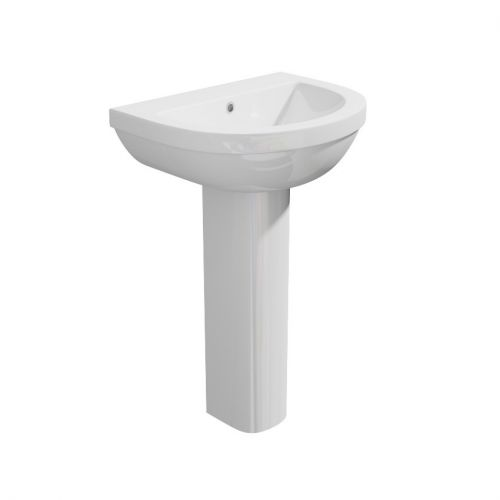 Alpha - Ceramic White Round Washbasin Sink and Pedestal