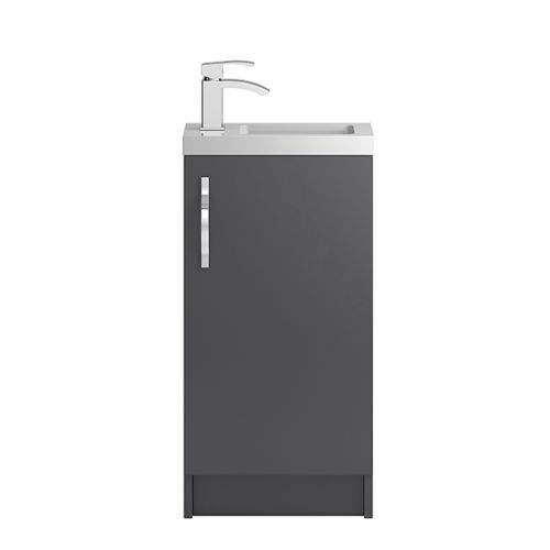 Hudson Reed Grey Apollo Compact Floor Standing 400mm Cabinet & Basin - APL422C