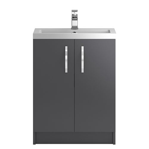 Hudson Reed Grey Apollo Floor Standing 600mm Cabinet & Basin - APL426