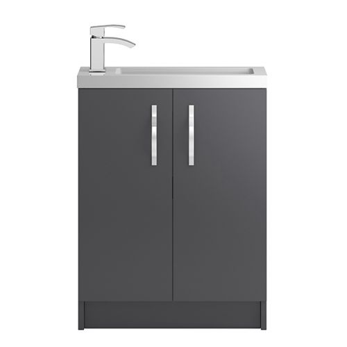 Hudson Reed Grey Apollo Compact Floor Standing 600mm Cabinet & Basin - APL426C