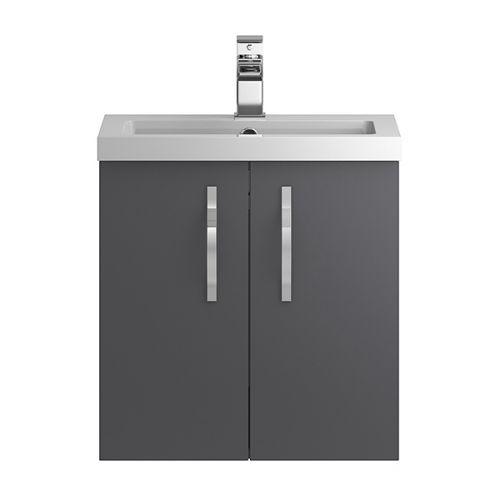 Hudson Reed Grey Apollo Wall Hung 500mm Cabinet & Basin - APL434