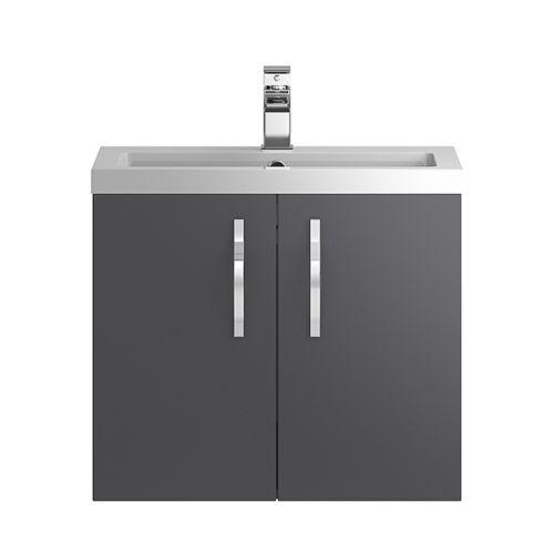 Hudson Reed Grey Apollo Wall Hung 600mm Cabinet & Basin - APL436
