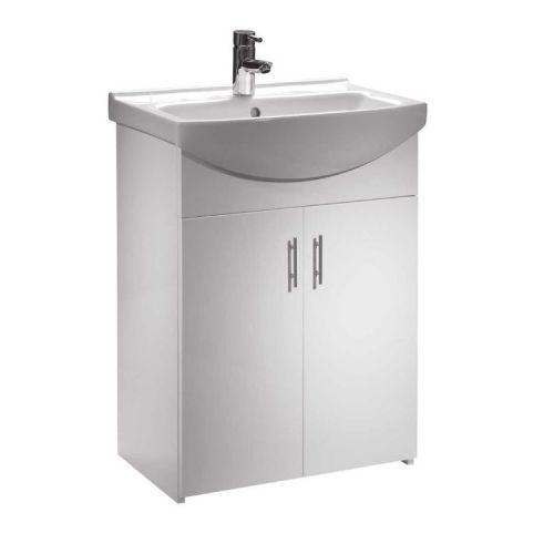 High Gloss White 600mm Vanity Unit & Basin - Opale By Arley