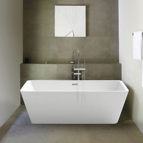 Freestanding Modern Square Double Ended Thin Edge Bath 1700 x 800 mm - Lido by Synergy