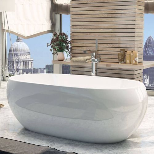 Freestanding Modern Double Ended Bath 1660mm - Olivia By Voda Design