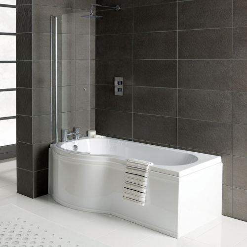 1600mm P Shower Bath - Made In UK, with 6mm Screen & Bath Panel