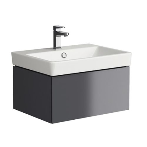 Grey 600mm Wall Hung Vanity Unit with 1 Tap Hole Basin - Roco By Voda Design