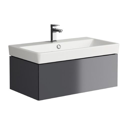 Grey 800mm Wall Hung Vanity Unit with 1 Tap Hole Basin - Roco By Voda Design