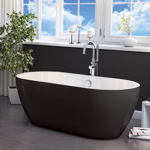 Freestanding Modern Double Ended Bath 1655mm (Black) - Manhattan By Voda Design