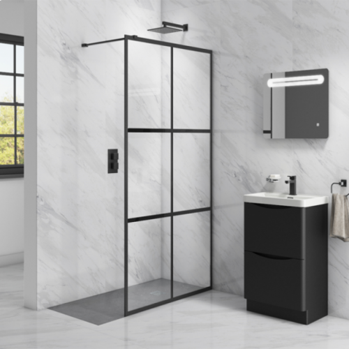 Synergy Vodas 8 Stella Black Grid Wetroom Screen