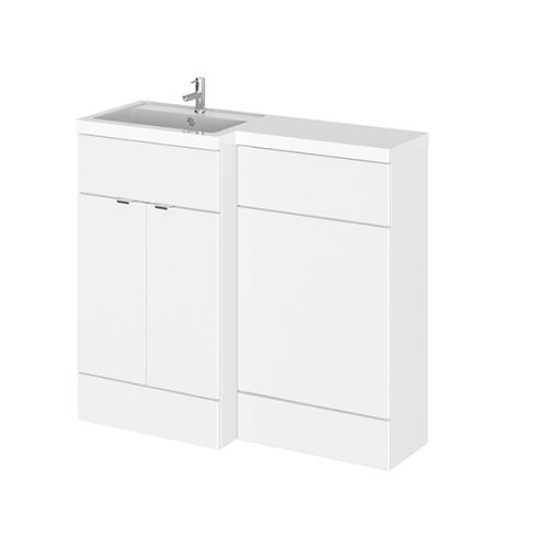 Hudson Reed Gloss White Fusion L Shape Combination Furniture (inc WC unit), LH & RH 1000mm