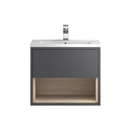 Hudson Reed Grey Coast 600mm Wall Hung Vanity Unit with basin option 2 - CST886
