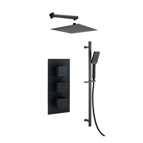 Black Square Concealed Triple Thermostatic Shower Valve, Slide Rail Kit, Fixed Head & Arm - Bathshop321