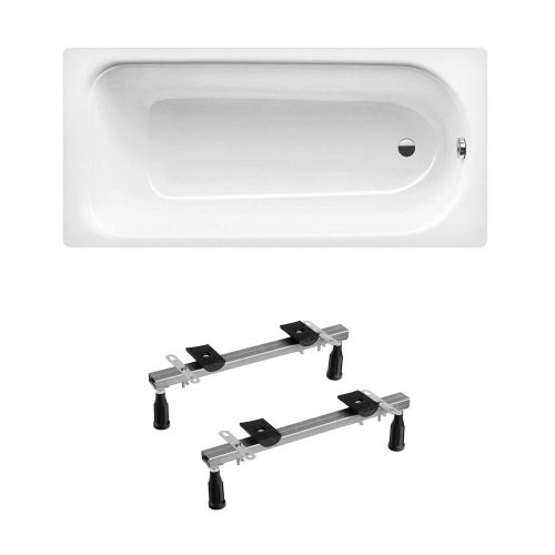 Kaldewei Eurowa 312 Anti Slip Steel Bath 1700 x 700mm 2 Tap Holes Inc Leg Set
