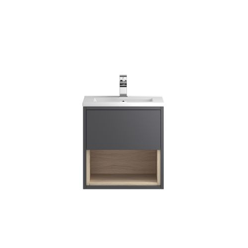 Hudson Reed Coast 500mm Grey Wall Hung Vanity Unit with basin option 2 - CST975