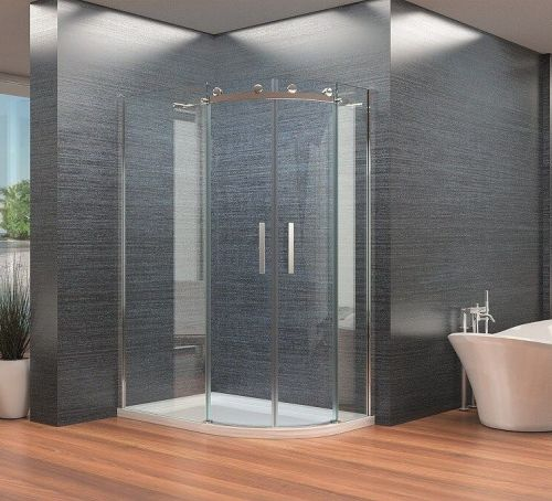 Frameless Offset Quadrant Enclosure With Sliding Doors Kaso 8 by Voda Design (8mm Thick)