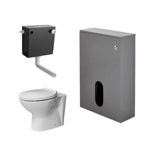 Salona 500mm WC Back To Wall Unit, Cistern, BTW Pan & Seat - Grey