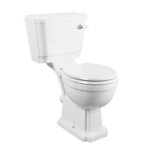 Traditional Close Coupled Toilet WC With Seat