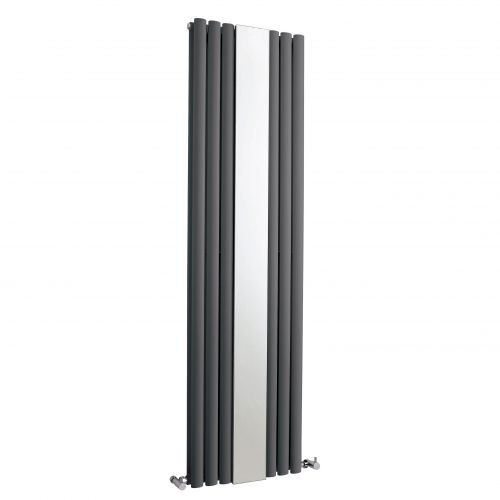 Hudson Reed Anthracite Revive double panel designer radiator with mirror H1800 x W499 mm HLA79