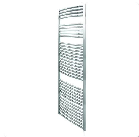 Curved Chrome Heated Ladder Rail - 600mm Wide - Aura by Voda Design