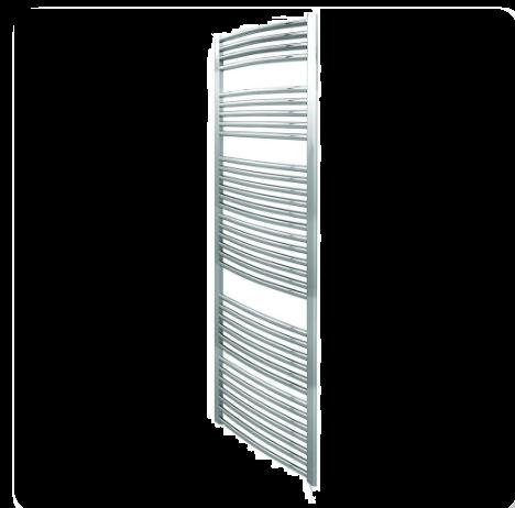 Curved Chrome Heated Ladder Rail - 500mm Wide Aura by Voda Design