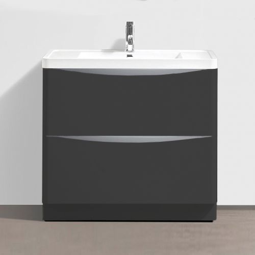 Grey Matt 900mm Freestanding Vanity Unit with 1 Tap Hole Basin - Maddox By Voda Design