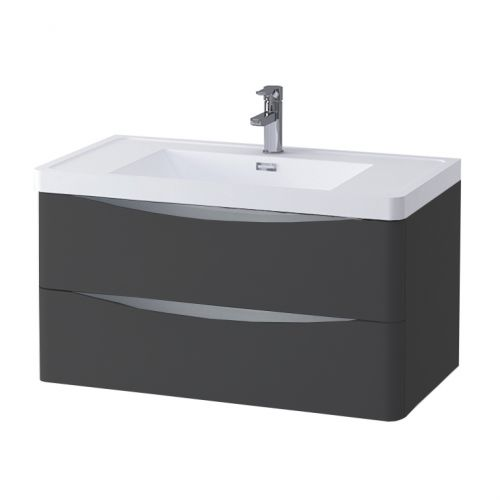Grey Matt 900mm Wall Hung Vanity Unit with 1 Tap Hole Basin - Maddox By Voda Design