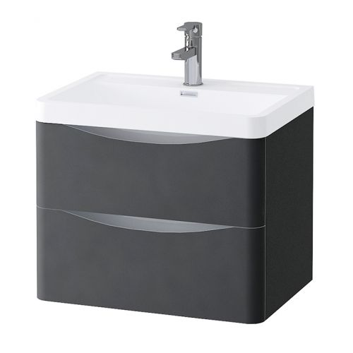 Grey Matt 600mm Wall Hung Vanity Unit with 1 Tap Hole Basin - Maddox By Voda Design