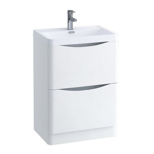 White Gloss 600mm Freestanding Vanity Unit with 1 Tap Hole Basin - Maddox By Voda Design