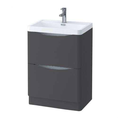 Grey Matt 600mm Freestanding Vanity Unit with 1 Tap Hole Basin - Maddox By Voda Design
