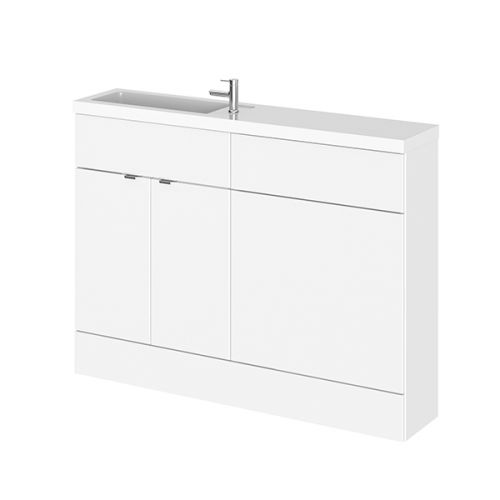 Hudson Reed Gloss White Fusion Slimline Combination Furniture 1200mm (inc WC unit) CBI108
