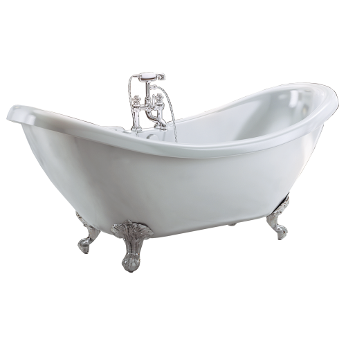 Freestanding Traditional Double Ended Slipper Bath With Chrome Ball And Claw Feet 1750mm - Marlow By Synergy