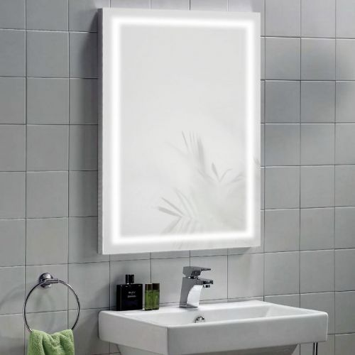 Illuminated Mirror with IR Switch, LED Clock, Shaver & Demister - Vega by Voda Design