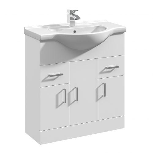White Gloss 750mm Floorstanding Vanity Unit And Basin - Blanco By Voda Design