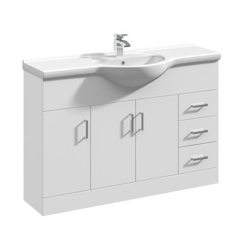 White Gloss 1200mm Floorstanding Vanity Unit and Basin - Blanco By Voda Design