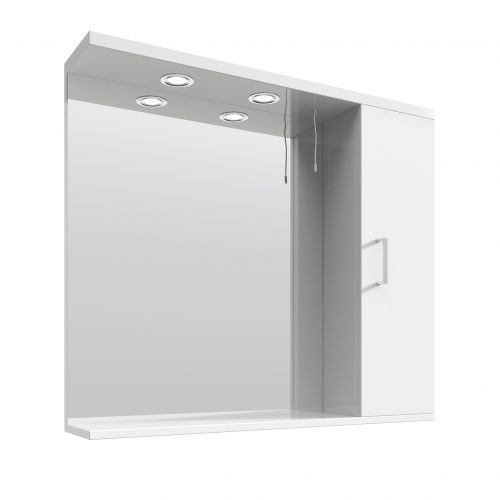 White Gloss 850mm Mirror and Light Canopy - Blanco by Voda Design