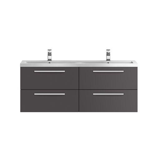 Hudson Reed Quartet Gloss Grey 1440mm Double Cabinet & Basin - QUA002